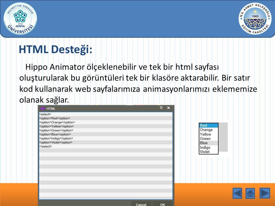 HTML Desteği: Hippo Animator ölçeklenebilir ve tek bir html sayfası oluşturularak bu görüntüleri tek bir klasöre aktarabilir. Bir satır kod kullanarak