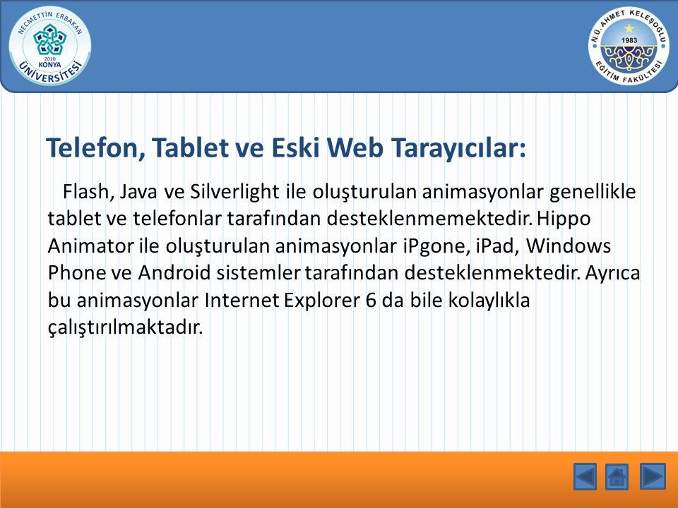 Telefon, Tablet ve Eski Web Tarayıcılar: Flash, Java ve Silverlight ile oluşturulan animasyonlar genellikle tablet ve telefonlar tarafından desteklenmemektedir.