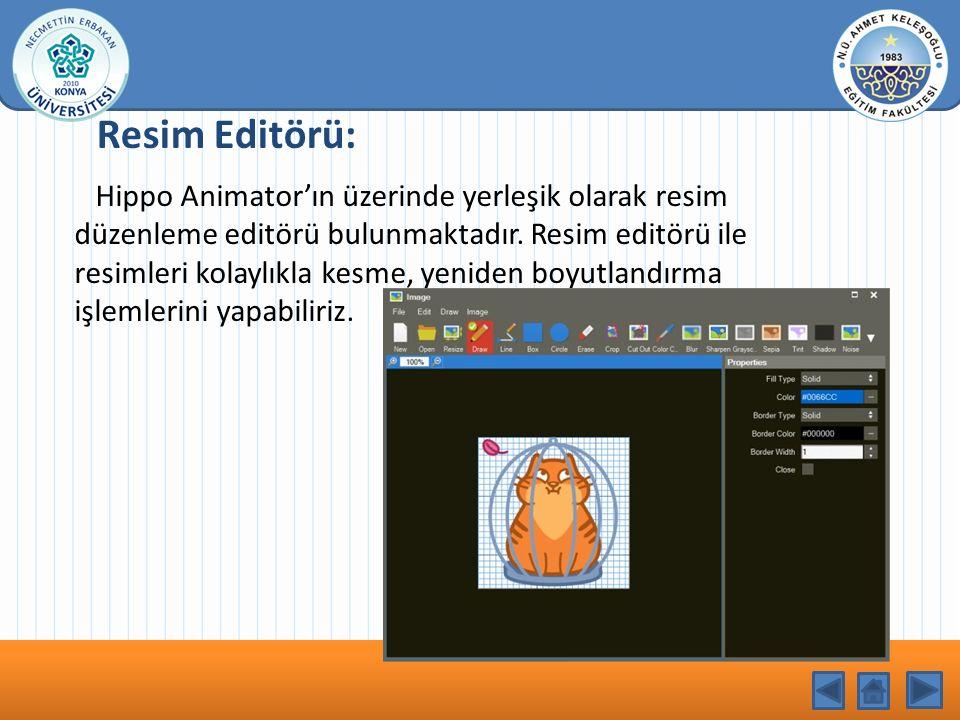 KONU BAŞLIĞI Resim Editörü: Hippo Animator'ın üzerinde yerleşik olarak resim düzenleme editörü bulunmaktadır. Resim editörü ile resimleri kolaylıkla k