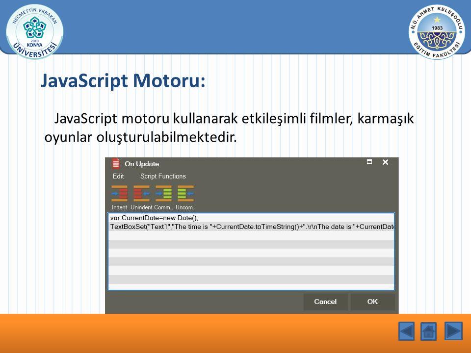 KONU BAŞLIĞI JavaScript Motoru: JavaScript motoru kullanarak etkileşimli filmler, karmaşık oyunlar oluşturulabilmektedir.