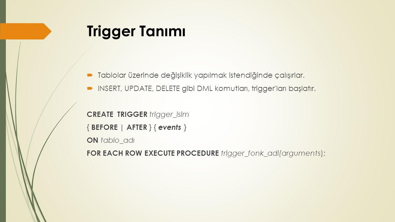 Trigger Tanımı  Tablolar üzerinde değişiklik yapılmak istendiğinde çalışırlar.