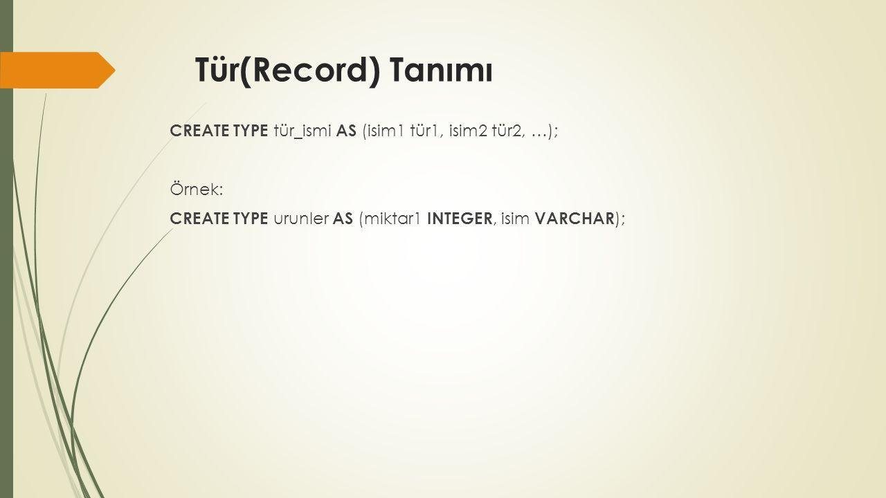Tür(Record) Tanımı CREATE TYPE tür_ismi AS (isim1 tür1, isim2 tür2, …); Örnek: CREATE TYPE urunler AS (miktar1 INTEGER, isim VARCHAR );