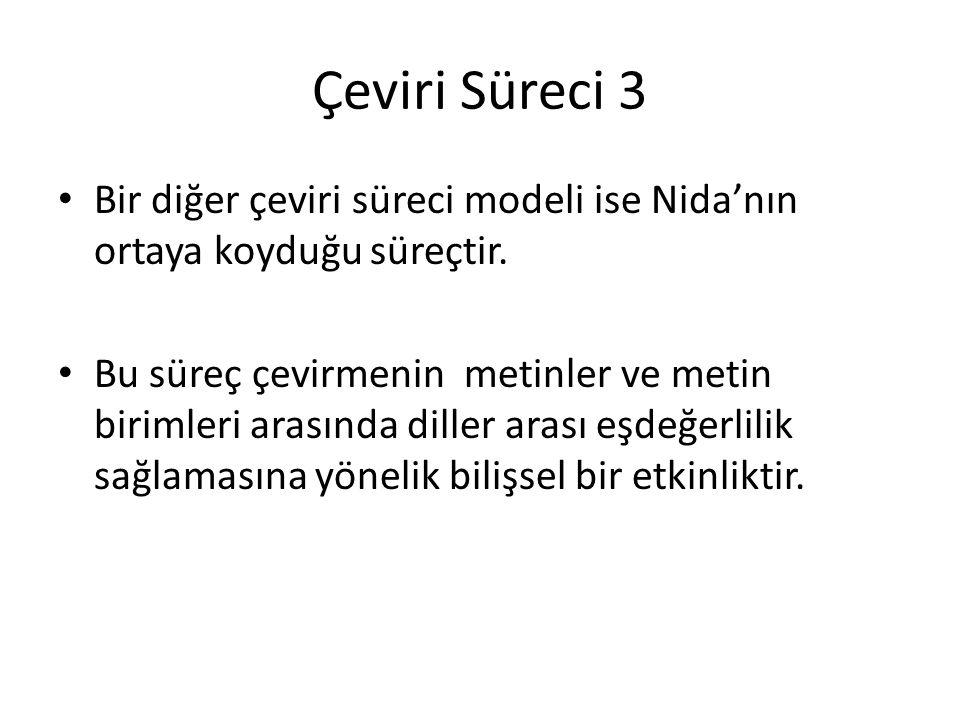Çeviri Süreci 3 Bir diğer çeviri süreci modeli ise Nida'nın ortaya koyduğu süreçtir. Bu süreç çevirmenin metinler ve metin birimleri arasında diller a