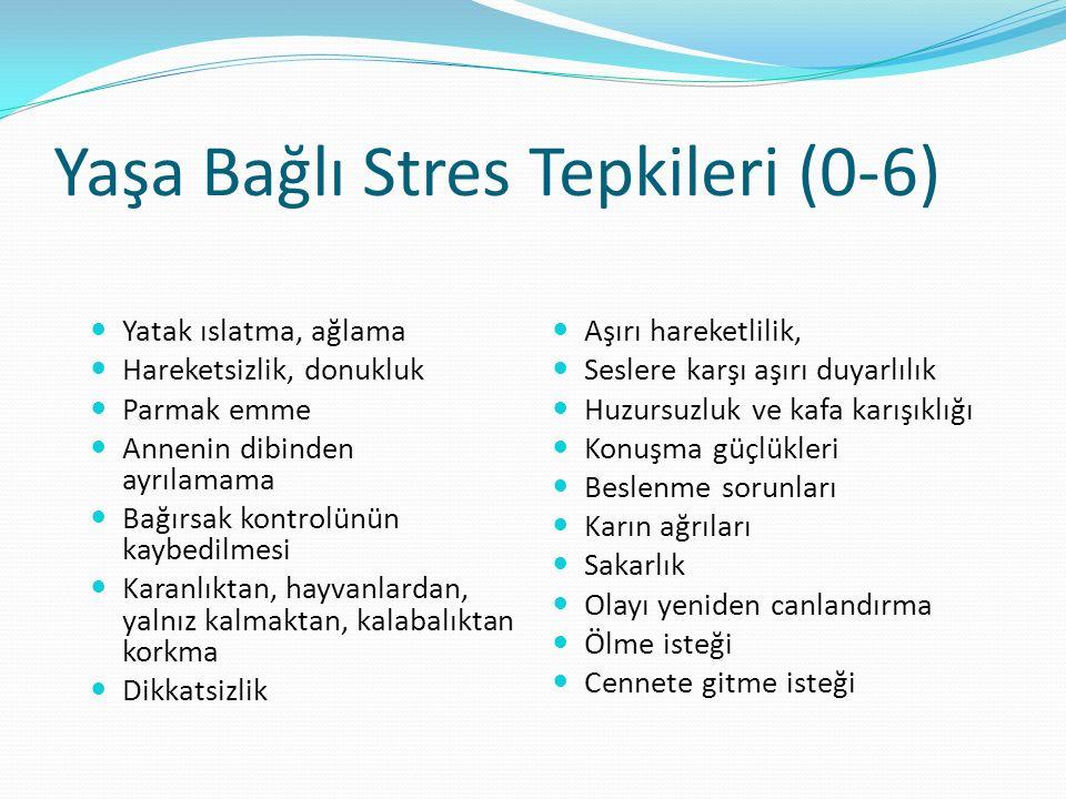 Yaşa Bağlı Stres Tepkileri (0-6) Yatak ıslatma, ağlama Hareketsizlik, donukluk Parmak emme Annenin dibinden ayrılamama Bağırsak kontrolünün kaybedilme
