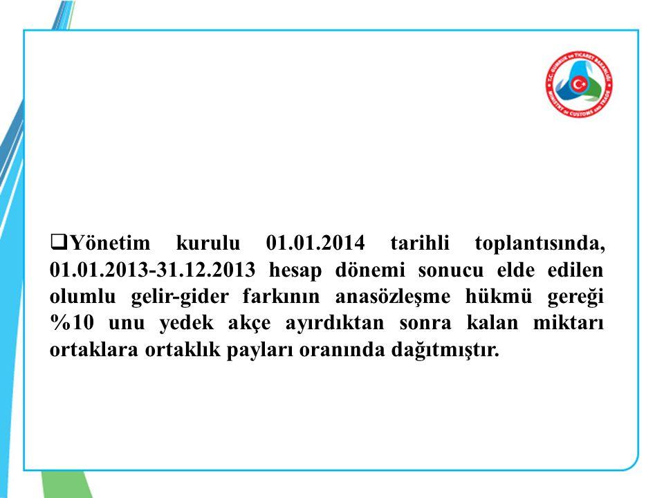  Yönetim kurulu 01.01.2014 tarihli toplantısında, 01.01.2013-31.12.2013 hesap dönemi sonucu elde edilen olumlu gelir-gider farkının anasözleşme hükmü