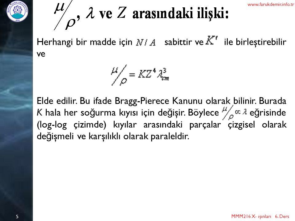 6 MMM216 X- ışınları 6. Ders www.farukdemir.info.tr PROBLEMLER VE ÇÖZÜMÜ