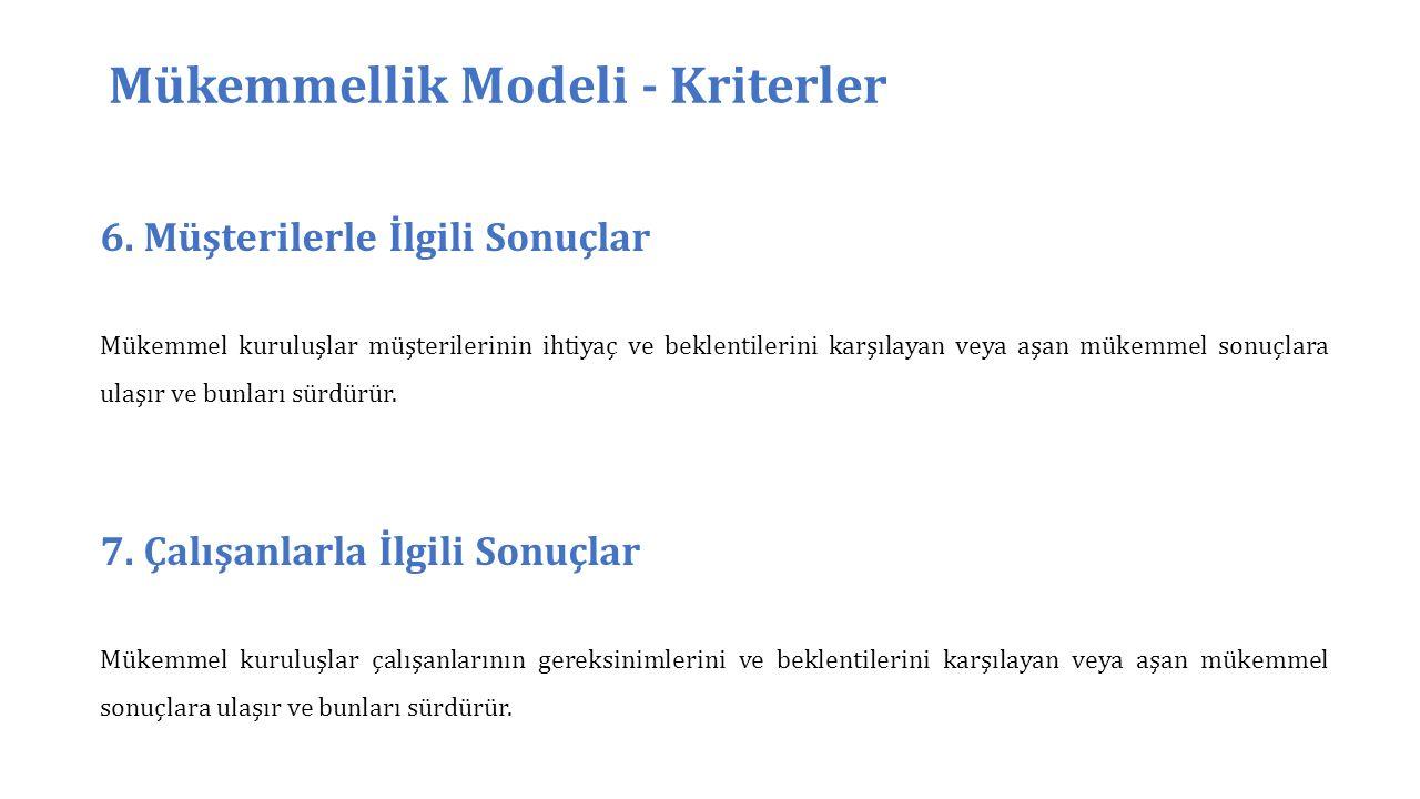 Mükemmellik Modeli - Kriterler 6.