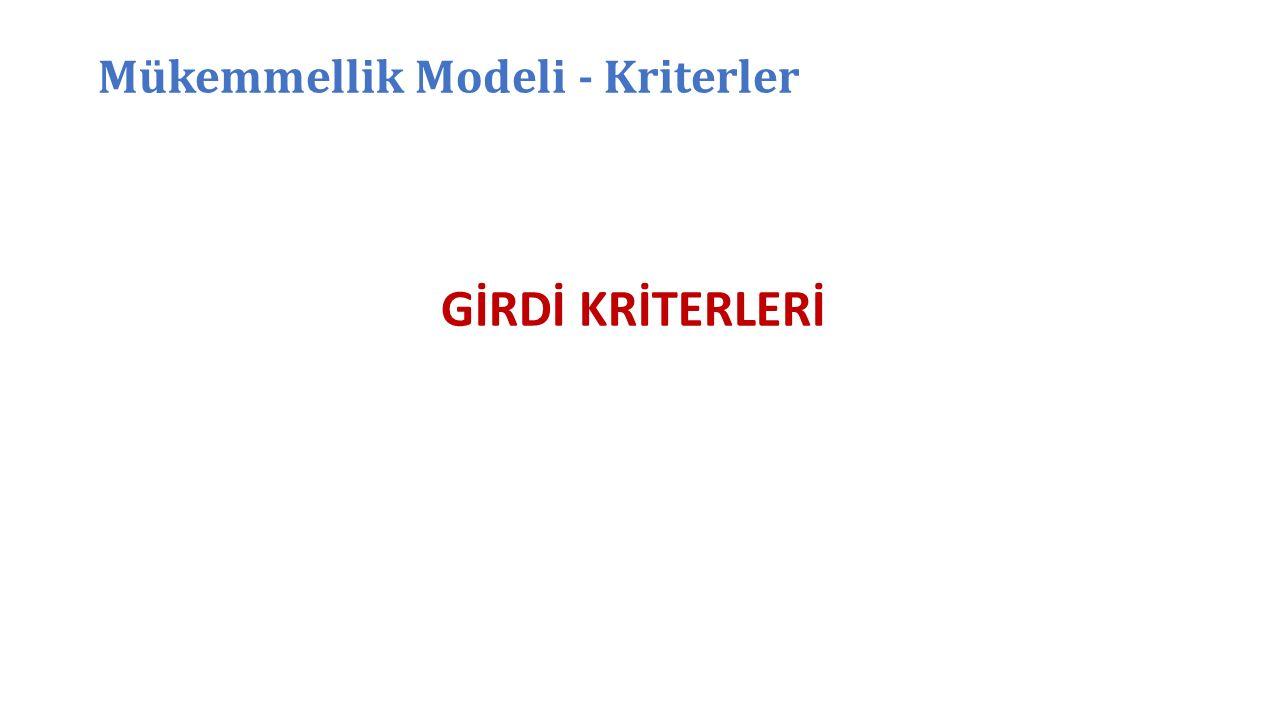 Mükemmellik Modeli - Kriterler GİRDİ KRİTERLERİ