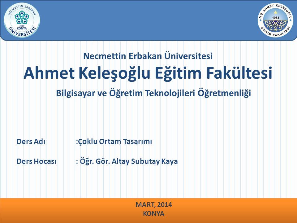 Necmettin Erbakan Üniversitesi Ahmet Keleşoğlu Eğitim Fakültesi Bilgisayar ve Öğretim Teknolojileri Öğretmenliği Ders Adı :Çoklu Ortam Tasarımı Ders H