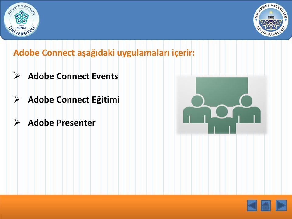 Adobe Connect aşağıdaki uygulamaları içerir:  Adobe Connect Events  Adobe Connect Eğitimi  Adobe Presenter