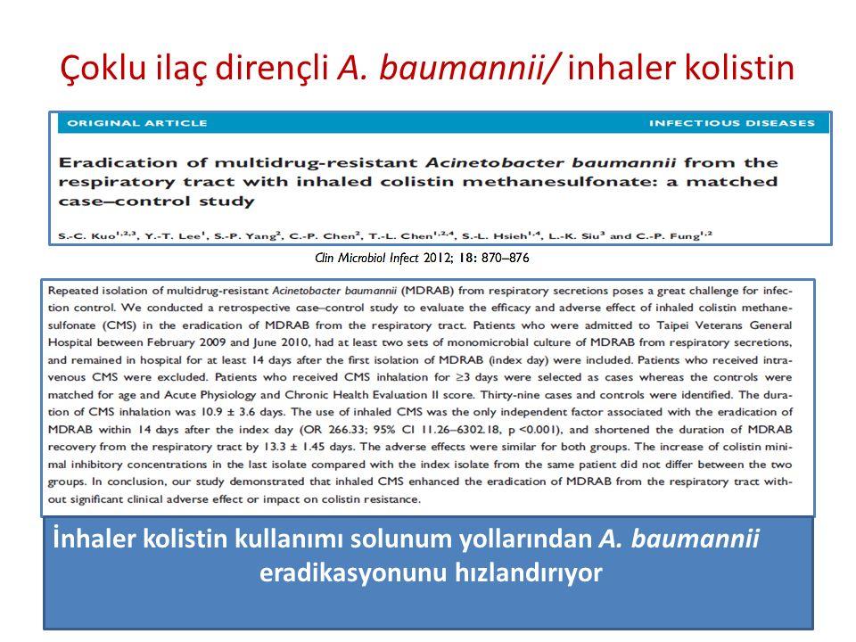 İnhaler kolistin kullanımı solunum yollarından A. baumannii eradikasyonunu hızlandırıyor