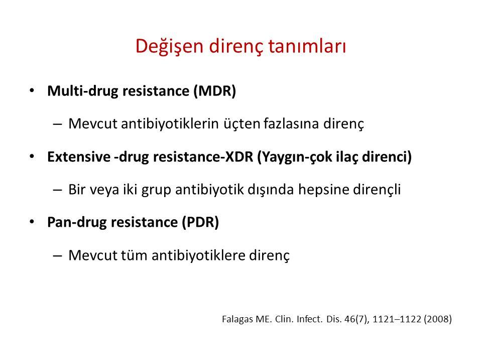 Değişen direnç tanımları Multi-drug resistance (MDR) – Mevcut antibiyotiklerin üçten fazlasına direnç Extensive -drug resistance-XDR (Yaygın-çok ilaç direnci) – Bir veya iki grup antibiyotik dışında hepsine dirençli Pan-drug resistance (PDR) – Mevcut tüm antibiyotiklere direnç Falagas ME.