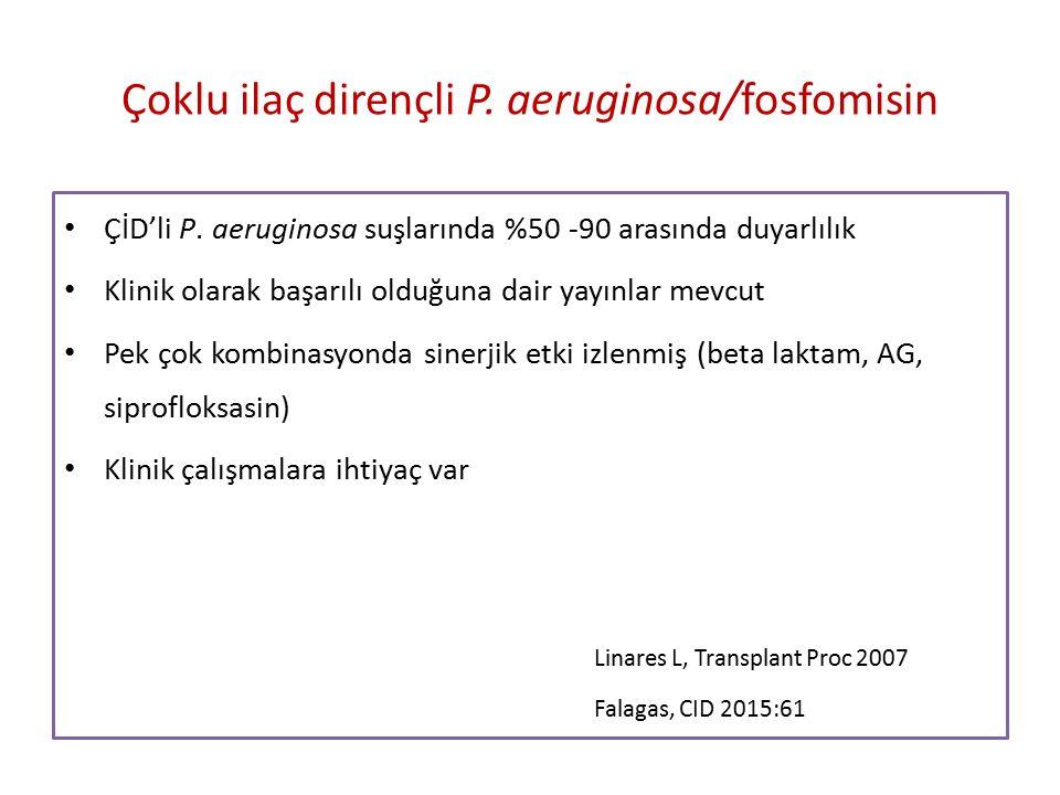 Çoklu ilaç dirençli P.aeruginosa/fosfomisin ÇİD'li P.