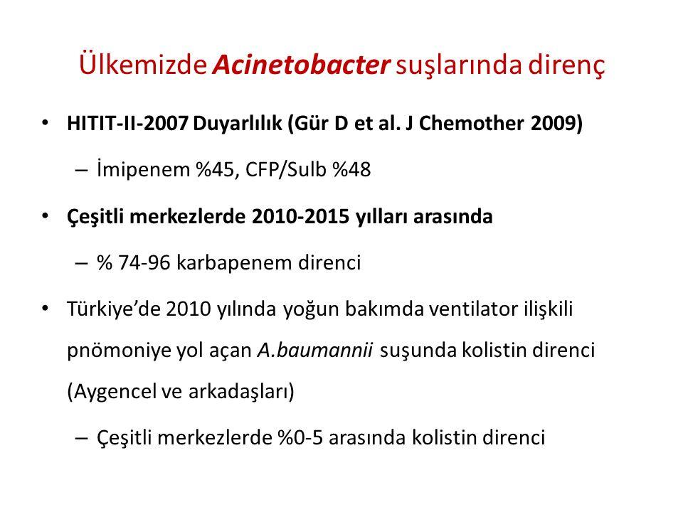 Ülkemizde Acinetobacter suşlarında direnç HITIT-II-2007 Duyarlılık (Gür D et al.