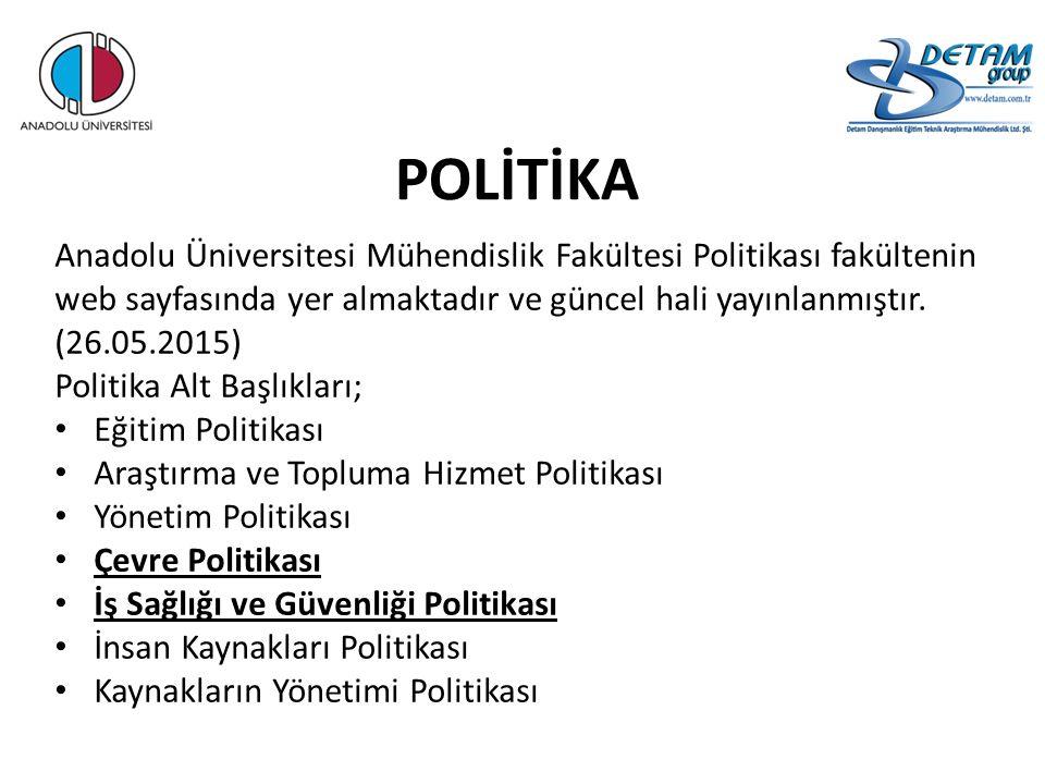 POLİTİKA Anadolu Üniversitesi Mühendislik Fakültesi Politikası fakültenin web sayfasında yer almaktadır ve güncel hali yayınlanmıştır. (26.05.2015) Po