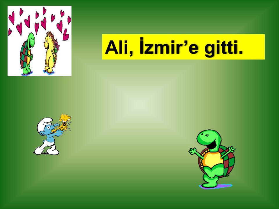, İzmir'e gitti.Ali, İzmir'e gitti.