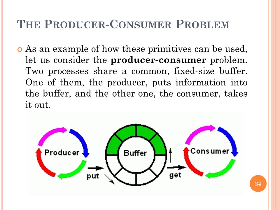 T HE P RODUCER -C ONSUMER P ROBLEM As an example of how these primitives can be used, let us consider the producer-consumer problem. Two processes sha