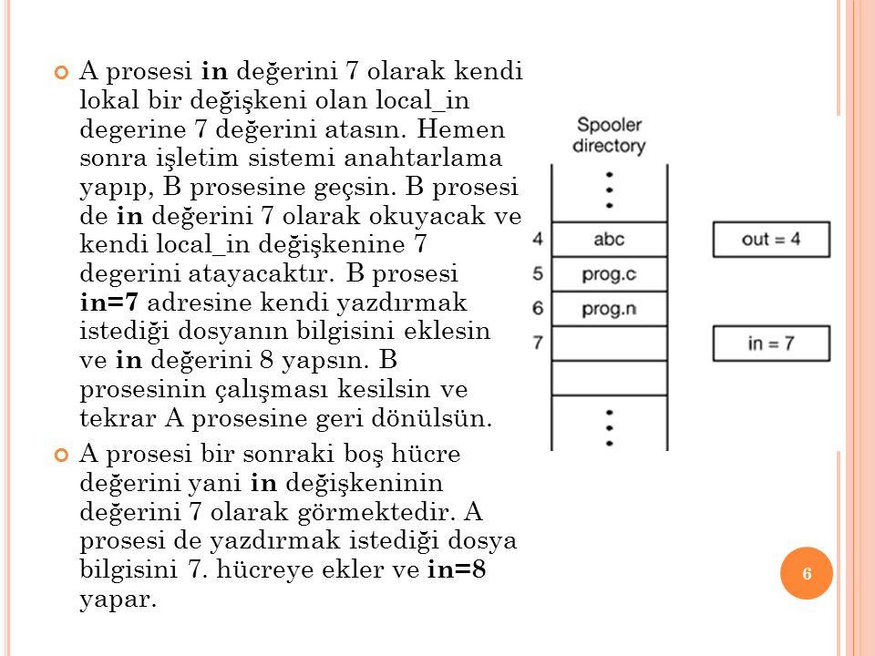A prosesi in değerini 7 olarak kendi lokal bir değişkeni olan local_in degerine 7 değerini atasın.