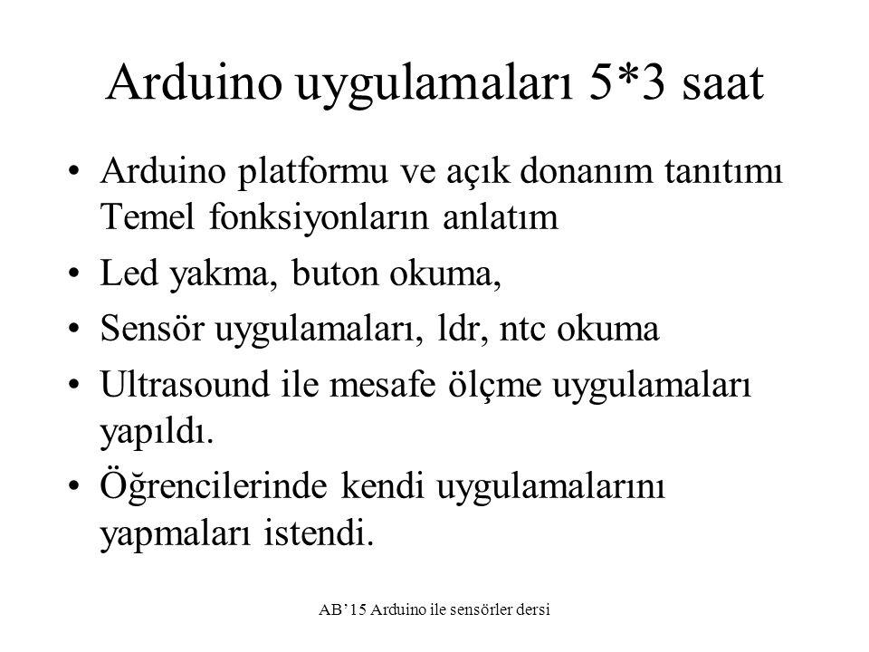 Arduino uygulamaları 5*3 saat Arduino platformu ve açık donanım tanıtımı Temel fonksiyonların anlatım Led yakma, buton okuma, Sensör uygulamaları, ldr