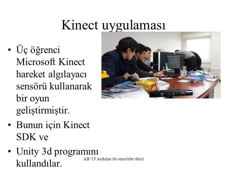 Kinect uygulaması Üç öğrenci Microsoft Kinect hareket algılayacı sensörü kullanarak bir oyun geliştirmiştir. Bunun için Kinect SDK ve Unity 3d program