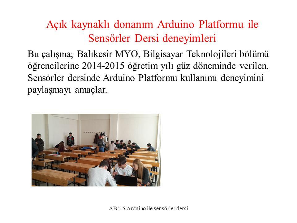 Sonuç: Geribildirimler AB'15 Arduino ile sensörler dersi