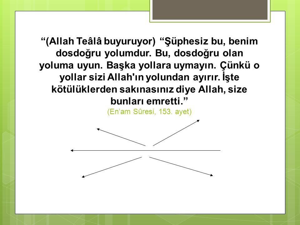 """""""(Allah Teâlâ buyuruyor) """"Şüphesiz bu, benim dosdoğru yolumdur. Bu, dosdoğru olan yoluma uyun. Başka yollara uymayın. Çünkü o yollar sizi Allah'ın yol"""