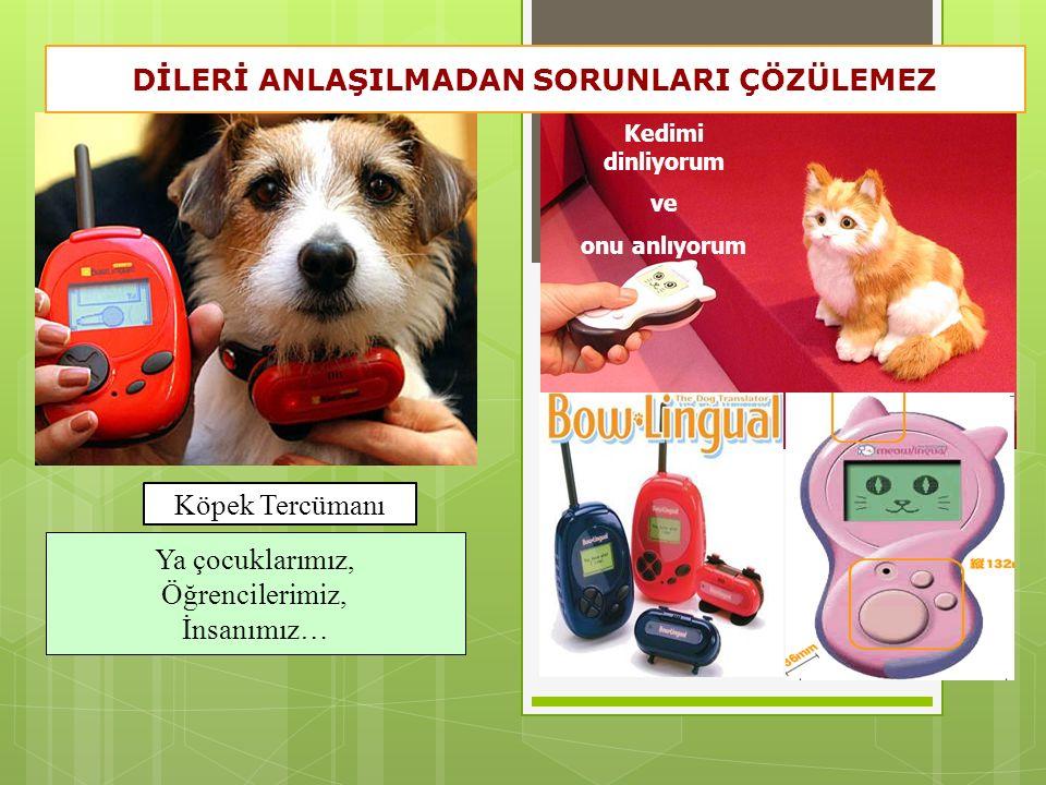 Kedimi dinliyorum ve onu anlıyorum Köpek Tercümanı Ya çocuklarımız, Öğrencilerimiz, İnsanımız… DİLERİ ANLAŞILMADAN SORUNLARI ÇÖZÜLEMEZ