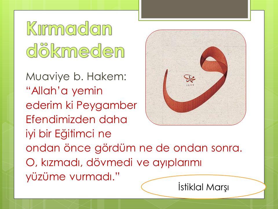 """Muaviye b. Hakem: """"Allah'a yemin ederim ki Peygamber Efendimizden daha iyi bir Eğitimci ne ondan önce gördüm ne de ondan sonra. O, kızmadı, dövmedi ve"""