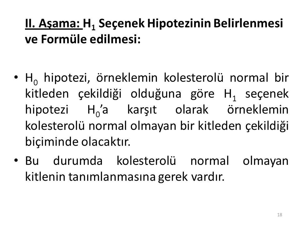 II. Aşama: H 1 Seçenek Hipotezinin Belirlenmesi ve Formüle edilmesi: H 0 hipotezi, örneklemin kolesterolü normal bir kitleden çekildiği olduğuna göre