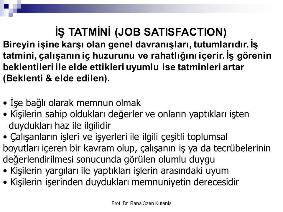 Prof. Dr. Rana Özen Kutanis İŞ TATMİNİ (JOB SATISFACTION) Bireyin işine karşı olan genel davranışları, tutumlarıdır. İş tatmini, çalışanın iç huzurunu