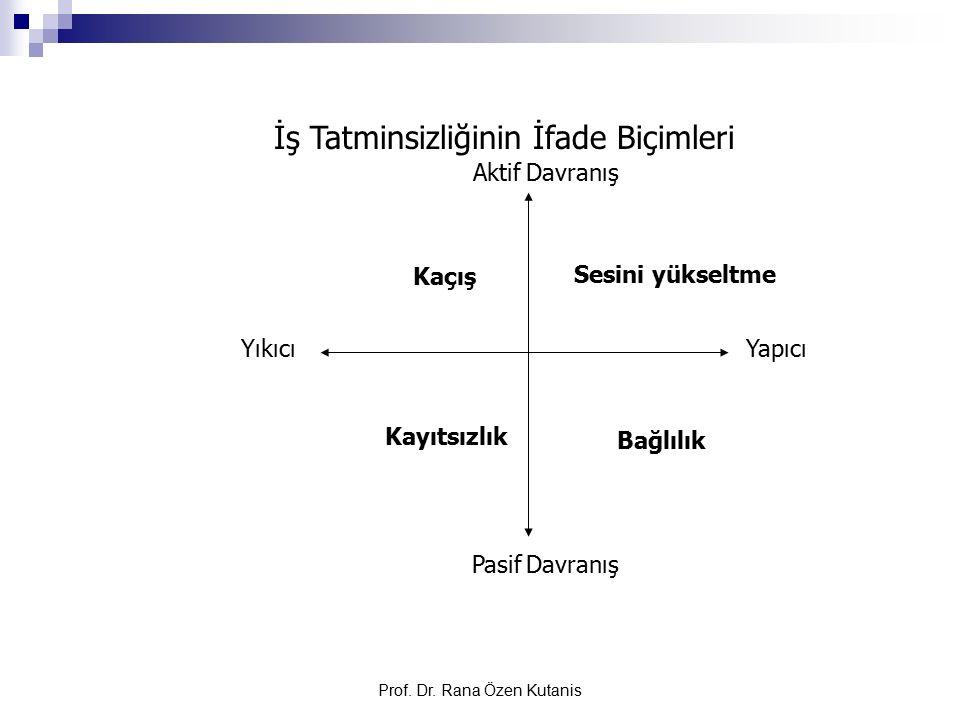 Prof. Dr. Rana Özen Kutanis İş Tatminsizliğinin İfade Biçimleri Aktif Davranış Pasif Davranış Sesini yükseltme Bağlılık Kaçış Kayıtsızlık YıkıcıYapıcı