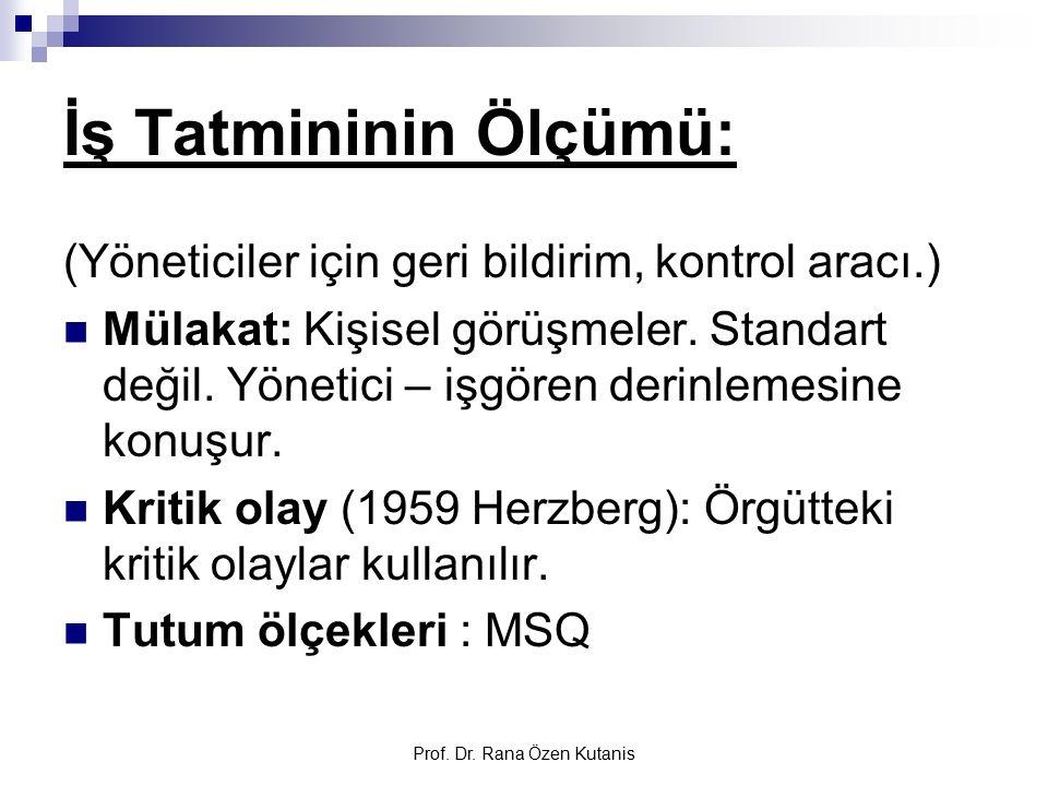 Prof. Dr. Rana Özen Kutanis İş Tatmininin Ölçümü: (Yöneticiler için geri bildirim, kontrol aracı.) Mülakat: Kişisel görüşmeler. Standart değil. Yöneti