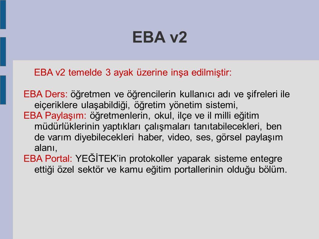 EBA v2 EBA v2 temelde 3 ayak üzerine inşa edilmiştir: EBA Ders: öğretmen ve öğrencilerin kullanıcı adı ve şifreleri ile eiçeriklere ulaşabildiği, öğretim yönetim sistemi, EBA Paylaşım: öğretmenlerin, okul, ilçe ve il milli eğitim müdürlüklerinin yaptıkları çalışmaları tanıtabilecekleri, ben de varım diyebilecekleri haber, video, ses, görsel paylaşım alanı, EBA Portal: YEĞİTEK'in protokoller yaparak sisteme entegre ettiği özel sektör ve kamu eğitim portallerinin olduğu bölüm.