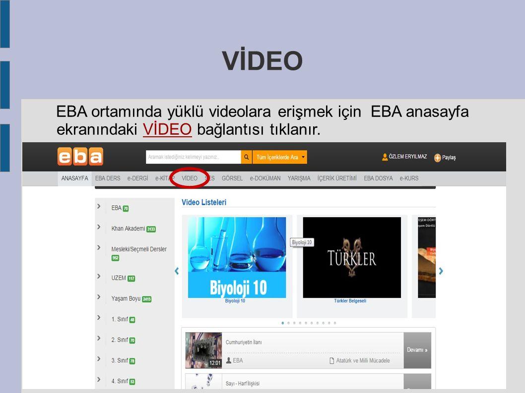 VİDEO EBA ortamında yüklü videolara erişmek için EBA anasayfa ekranındaki VİDEO bağlantısı tıklanır.