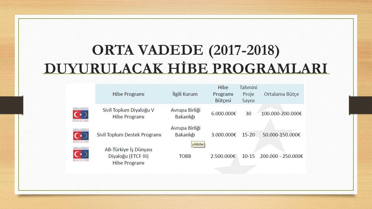 ORTA VADEDE (2017-2018) DUYURULACAK HİBE PROGRAMLARI