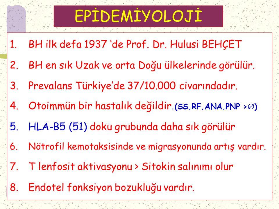 EPİDEMİYOLOJİ 1.BH ilk defa 1937 'de Prof.Dr.