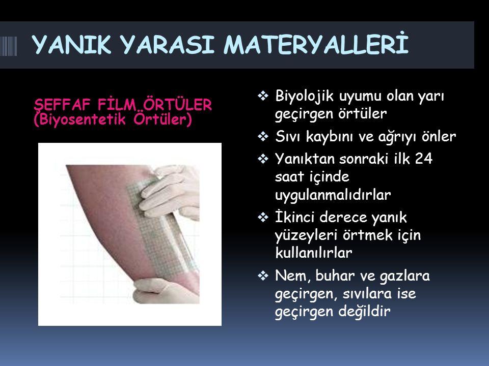 YANIK YARASI MATERYALLERİ ŞEFFAF FİLM ÖRTÜLER (Biyosentetik Örtüler)  Biyolojik uyumu olan yarı geçirgen örtüler  Sıvı kaybını ve ağrıyı önler  Yan