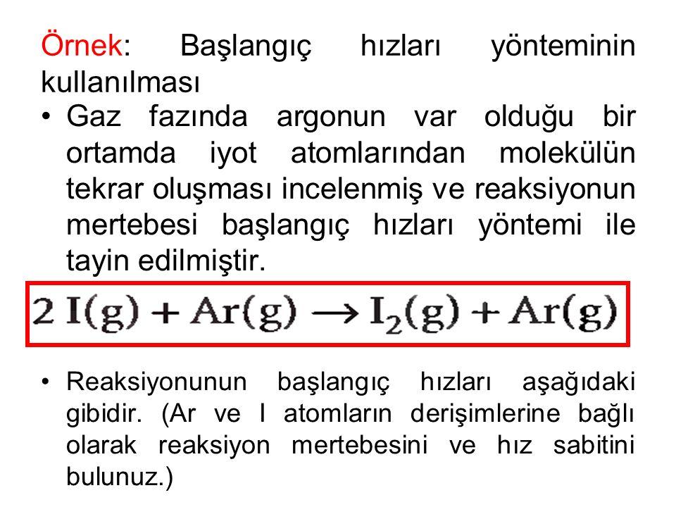 Örnek: Başlangıç hızları yönteminin kullanılması Gaz fazında argonun var olduğu bir ortamda iyot atomlarından molekülün tekrar oluşması incelenmiş ve