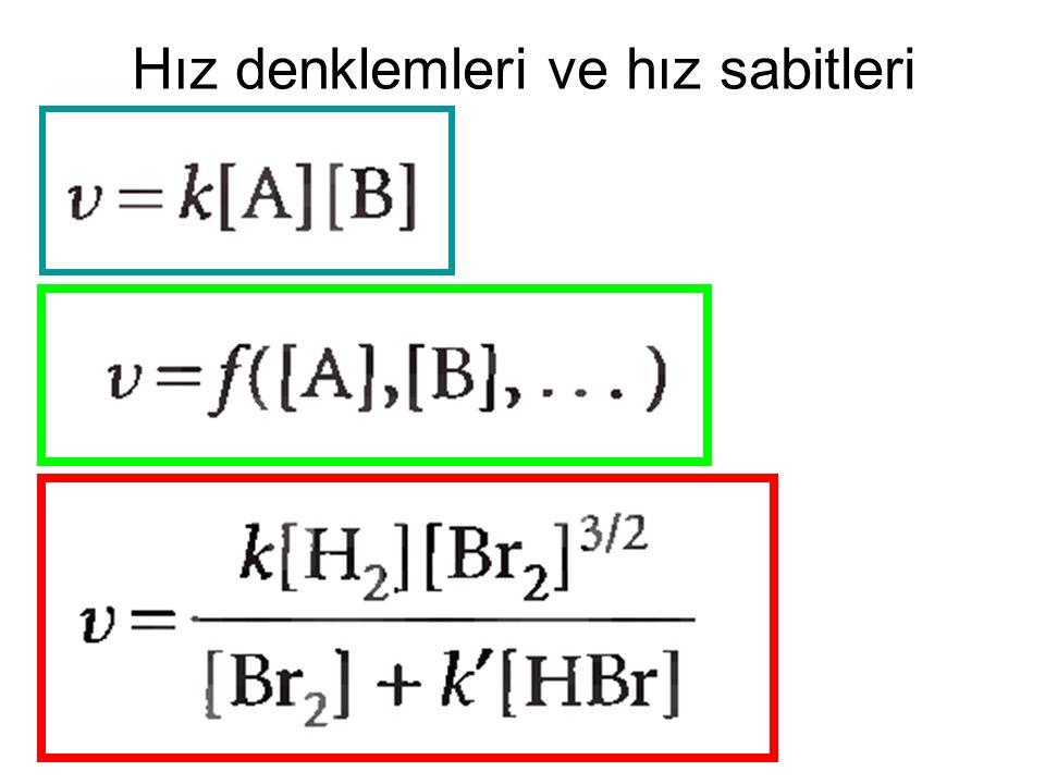 Hız denklemleri ve hız sabitleri