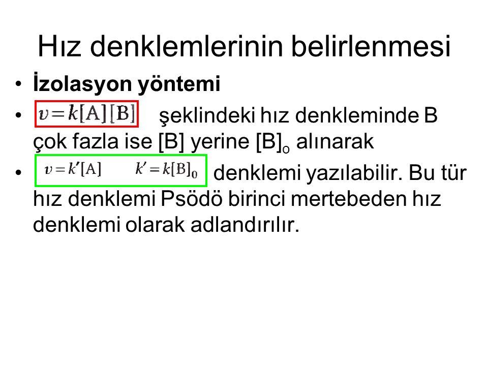 Hız denklemlerinin belirlenmesi İzolasyon yöntemi şeklindeki hız denkleminde B çok fazla ise [B] yerine [B] o alınarak denklemi yazılabilir. Bu tür hı