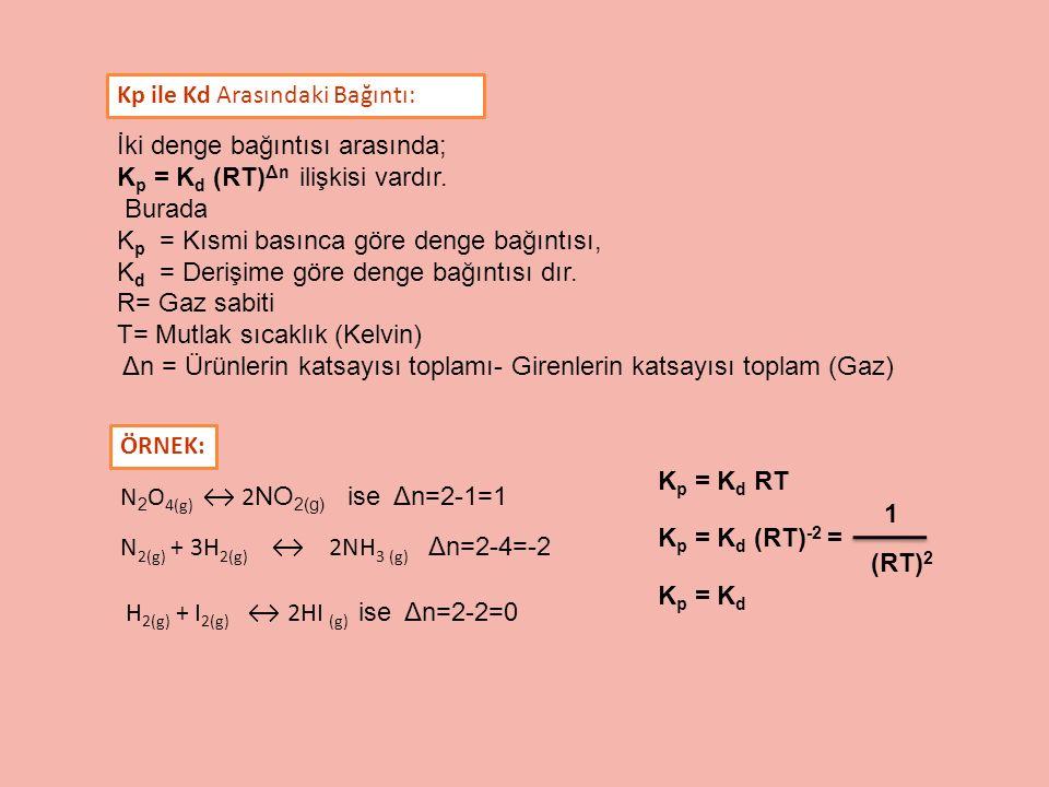 İki denge bağıntısı arasında; K p = K d (RT) Δn ilişkisi vardır. Burada K p = Kısmi basınca göre denge bağıntısı, K d = Derişime göre denge bağıntısı