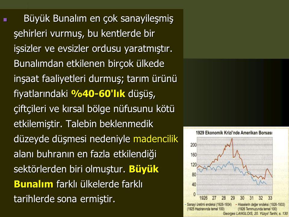 1929 Dünya Ekonomik Bunalımı 1929'da başlayan (etkilerini ancak 1930 yılının sonlarında tam anlamıyla hissettiren) ve 1930'lu yıllar boyunca devam ede