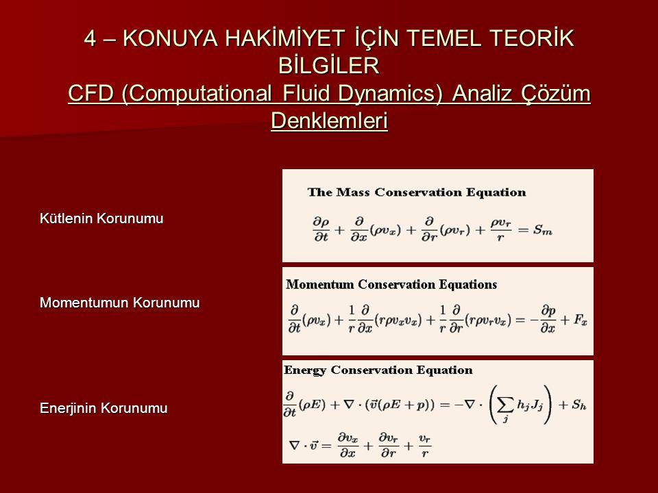 4 – KONUYA HAKİMİYET İÇİN TEMEL TEORİK BİLGİLER CFD (Computational Fluid Dynamics) Analiz Çözüm Denklemleri Kütlenin Korunumu Momentumun Korunumu Ener