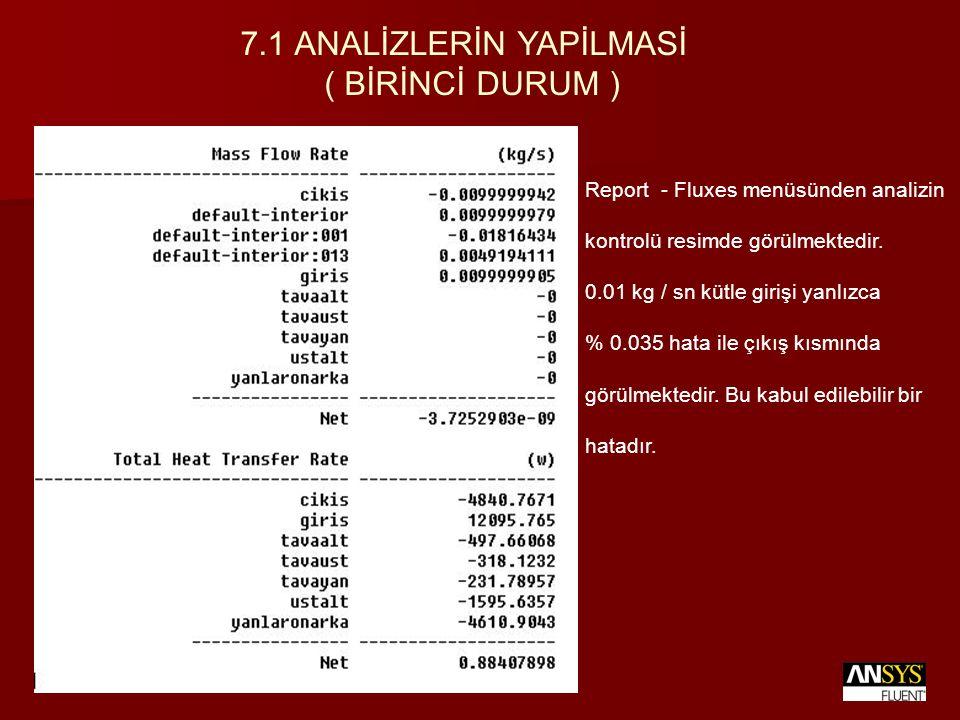 Report - Fluxes menüsünden analizin kontrolü resimde görülmektedir. 0.01 kg / sn kütle girişi yanlızca % 0.035 hata ile çıkış kısmında görülmektedir.
