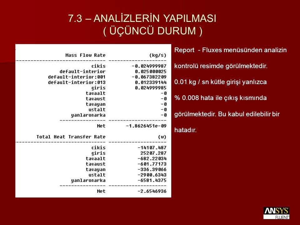 Report - Fluxes menüsünden analizin kontrolü resimde görülmektedir. 0.01 kg / sn kütle girişi yanlızca % 0.008 hata ile çıkış kısmında görülmektedir.