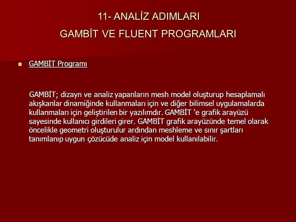 GAMBİT VE FLUENT PROGRAMLARI GAMBİT Programı GAMBİT Programı GAMBİT; dizayn ve analiz yapanların mesh model oluşturup hesaplamalı akışkanlar dinamiğin