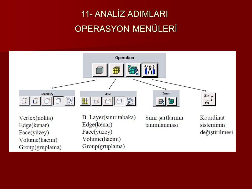 OPERASYON MENÜLERİ 11- ANALİZ ADIMLARI
