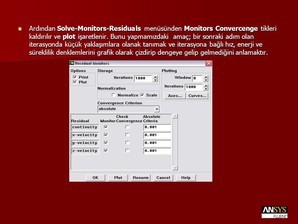 Ardından Solve-Monitors-Residuals menüsünden Monitors Convercenge tikleri kaldırılır ve plot işaretlenir. Bunu yapmamızdaki amaç; bir sonraki adım ola