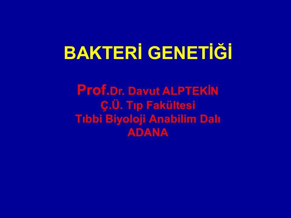 BAKTERİ GENETİĞİ Prof. Dr. Davut ALPTEKİN Ç.Ü. Tıp Fakültesi Tıbbi Biyoloji Anabilim Dalı ADANA