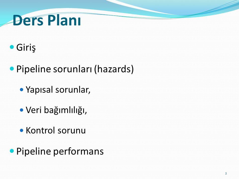 Ders Planı Giriş Pipeline sorunları (hazards) Yapısal sorunlar, Veri bağımlılığı, Kontrol sorunu Pipeline performans 2
